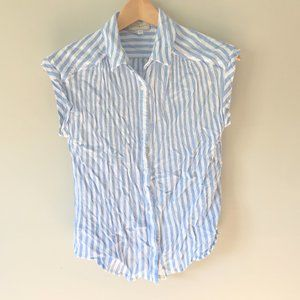Lucky Brand Blue White Striped Button Front Top